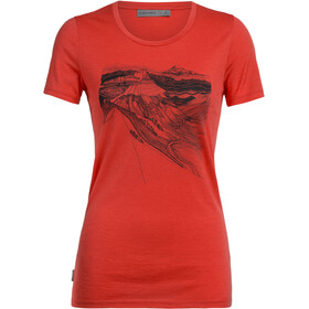Icebreaker Tech Lite PCT Sketchbook T-shirt Col ras-du-cou Bas Femme, fire